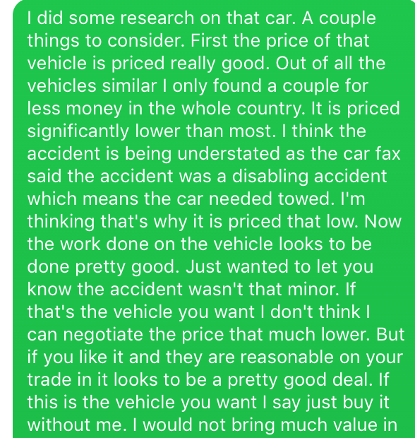 how to negotiate a car deal, text message from client