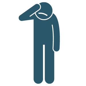Stickman with hand on head